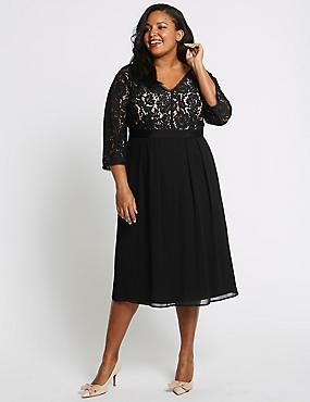 CURVE 3/4 Sleeve Lace Detail Dress, BLACK, catlanding