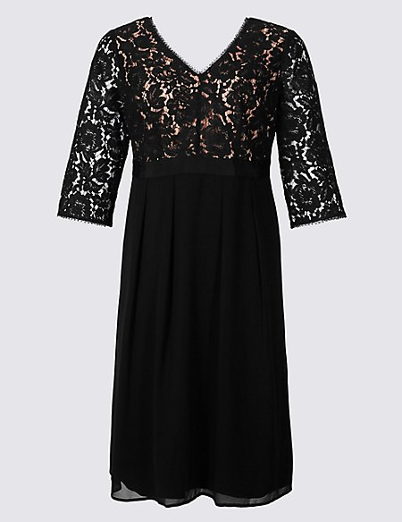 CURVE 3/4 Sleeve Lace Detail Dress
