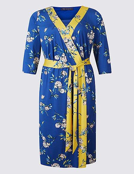 CURVE Floral Print ¾ Sleeve Wrap Midi Dress