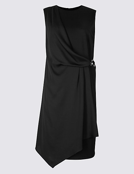 CURVE Side Buckle Wrap Midi Dress