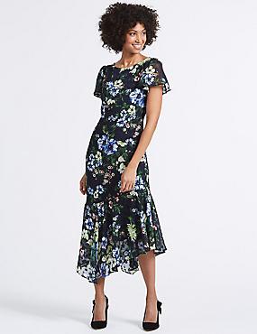 Floral Print Asymmetric Tunic Midi Dress