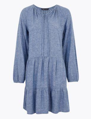 Linen V-Neck Mini Relaxed Dress
