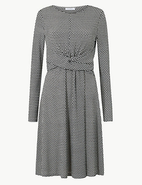 Polka Dot Jersey Drape Front Waisted Dress
