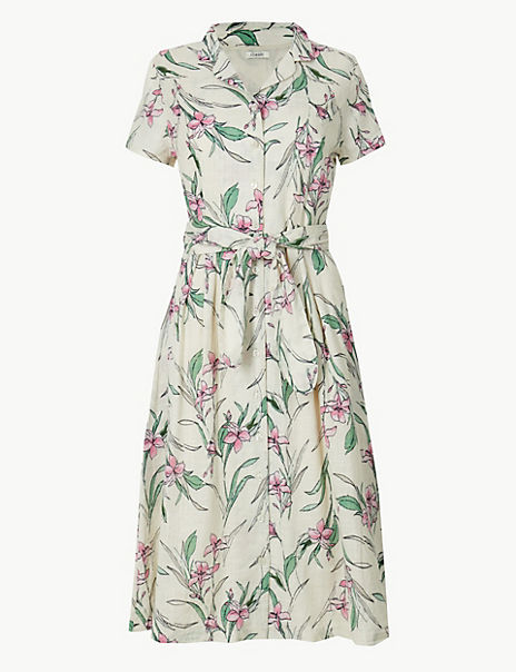 Pure Cotton Floral Print Shirt Midi Dress