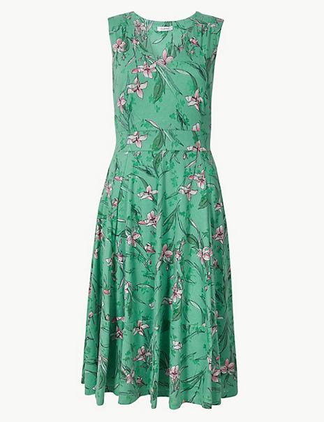 Floral Print Waisted Midi Dress