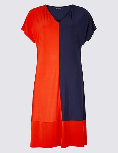 CURVE Colour Block Jersey A-Line Midi Dress