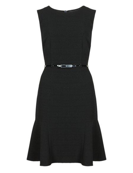 PETITE Crêpe Flippy Belted Shift Dress