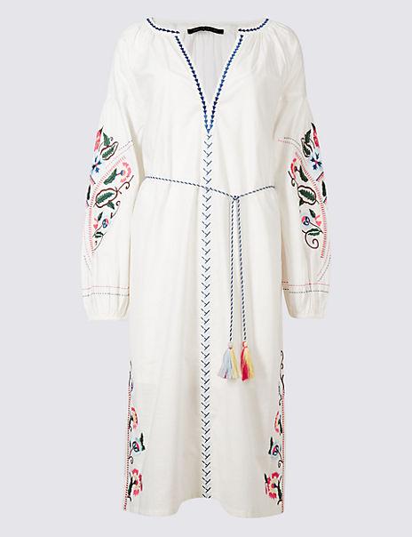 Embroidered Long Sleeve Tunic Midi Dress