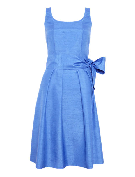 Pleated Fit & Flare Belted Dress