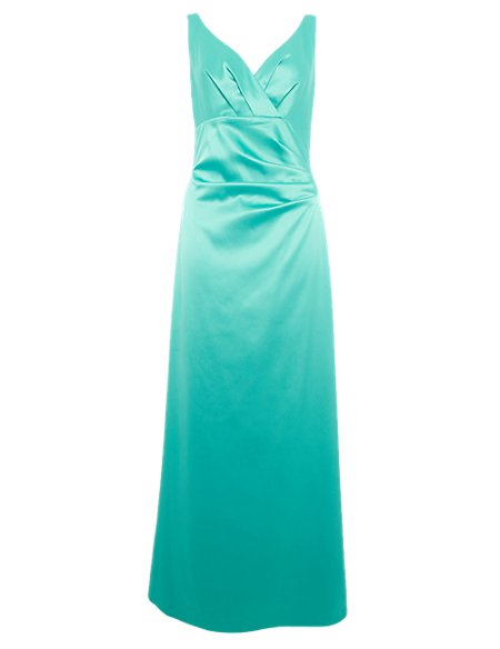 Crossover V-Neck Pleated Maxi Dress ONLINE ONLY