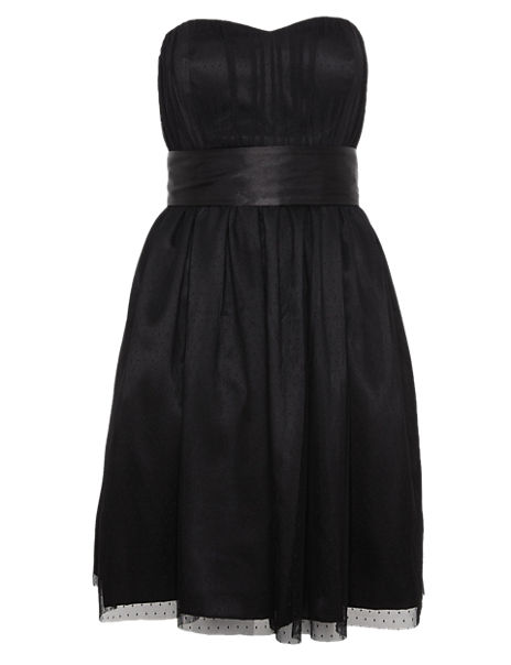 Sleeveless Spotted Mesh Prom Dress ONLINE ONLY