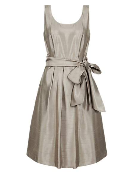 Satin Belted Prom Bridesmaid Dress ONLINE ONLY