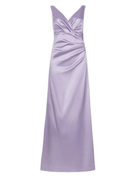 V-Neck Pleated Waist Satin Maxi Bridesmaid Dress ONLINE ONLY