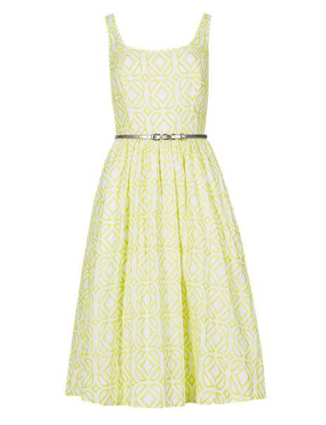 Pure Cotton Lattice Prom Dress with Belt