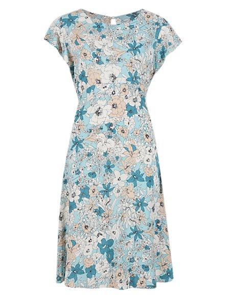 Floral Crêpe Cap Sleeve Skater Dress