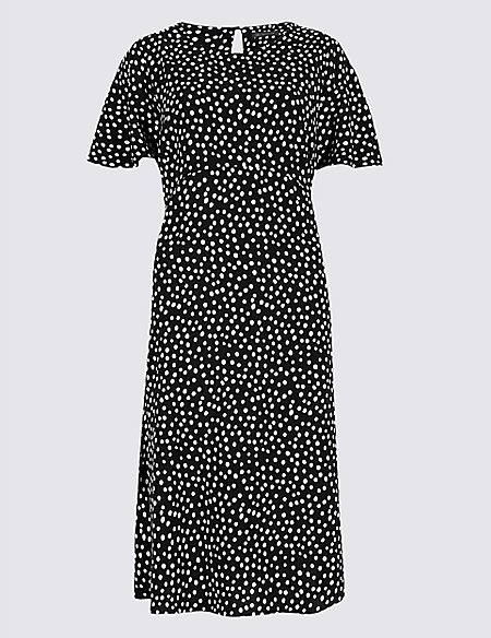 Polka Dot Crepe Skater Dress