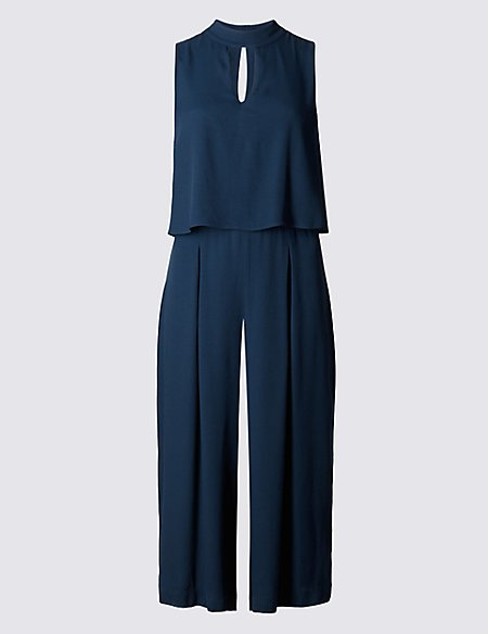 Double Layered Split Back Jumpsuit