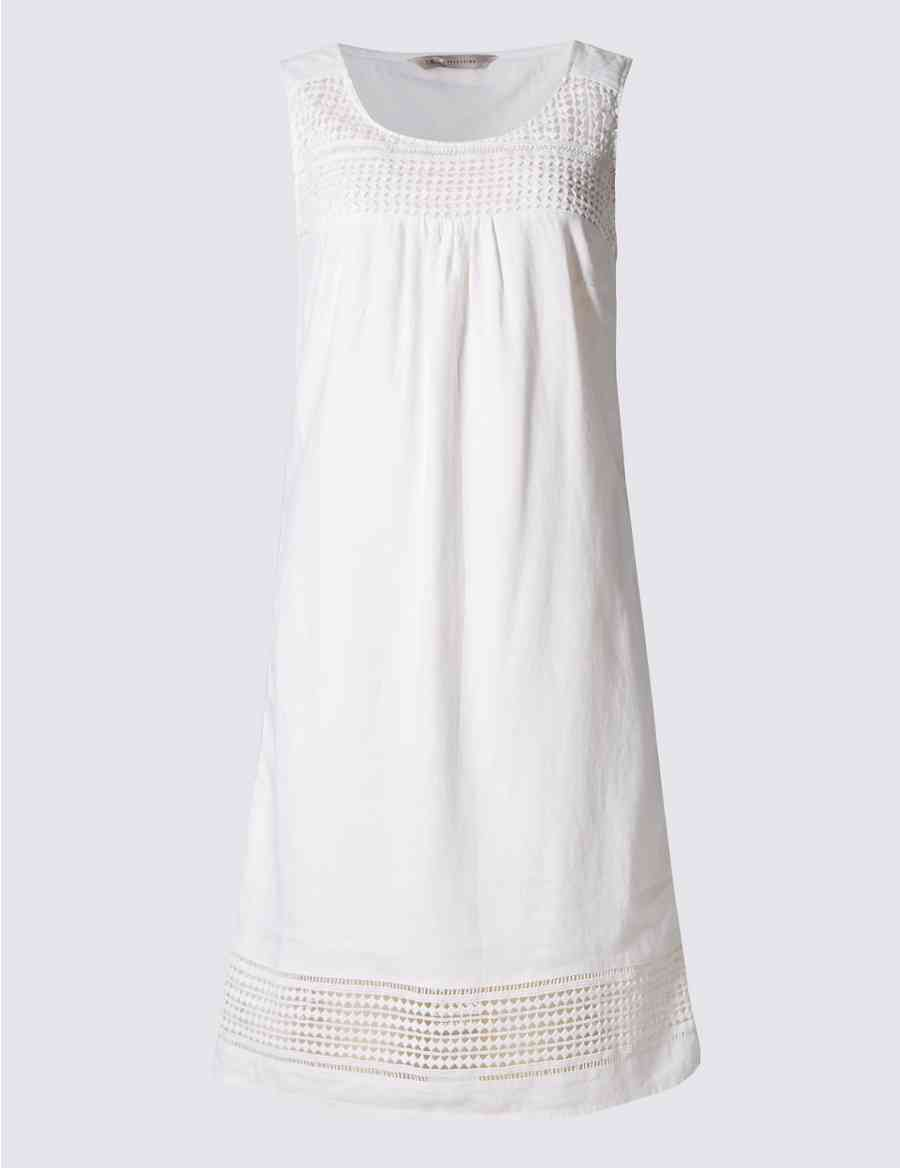 7bb9c292b4 Linen Blend Sleeveless Shift Dress