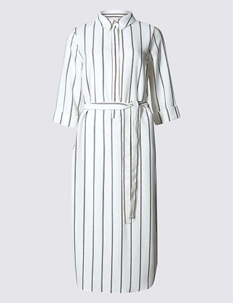 Striped 3/4 Sleeve Shirt Dress with Belt