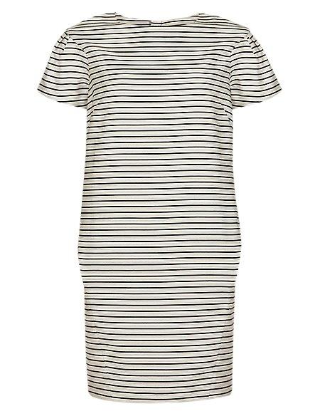 Pure Cotton Woven Striped Shift Dress