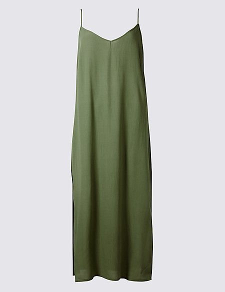 Side Split Slip Midi Dress