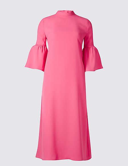 Tie Back Flared Sleeve Tunic Midi Dress