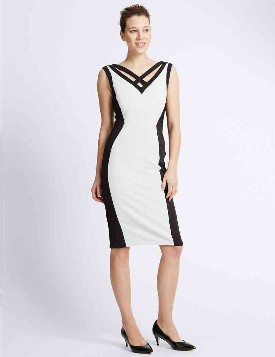 Drop A Dress Size Colour Block Bodycon