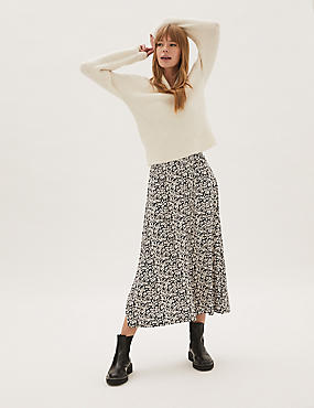 Jersey Floral Midaxi Skater Skirt
