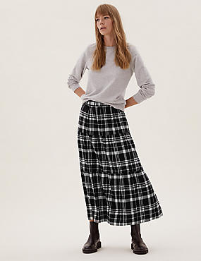 Pure Cotton Checked Midaxi Tiered Skirt