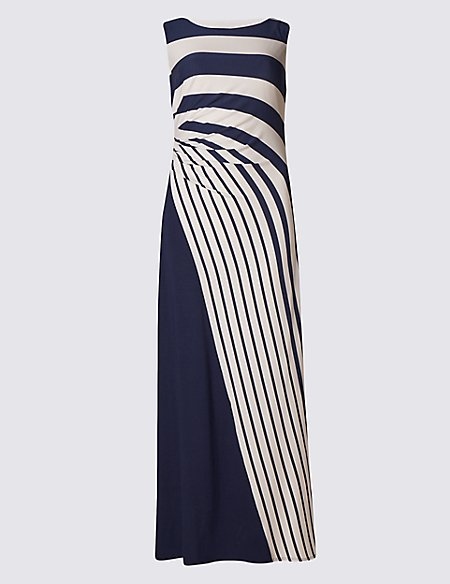 PETITE Drape Waist Striped Maxi Dress