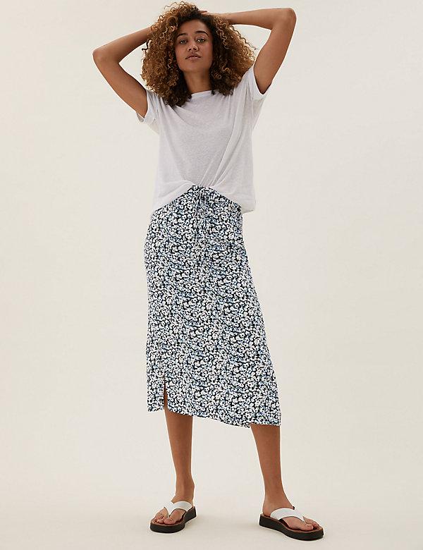 Floral Side Split Midi Straight Skirt