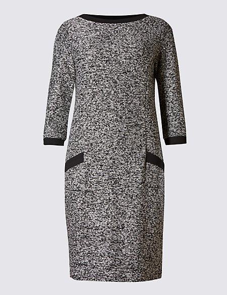 Bouclé Sweater 3/4 Sleeve Shift Dress