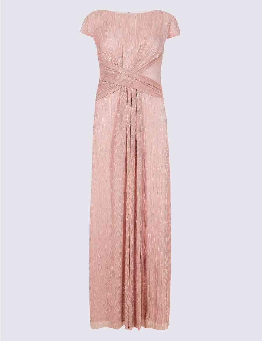 Sparkly Twist Detail Metallic Maxi Dress