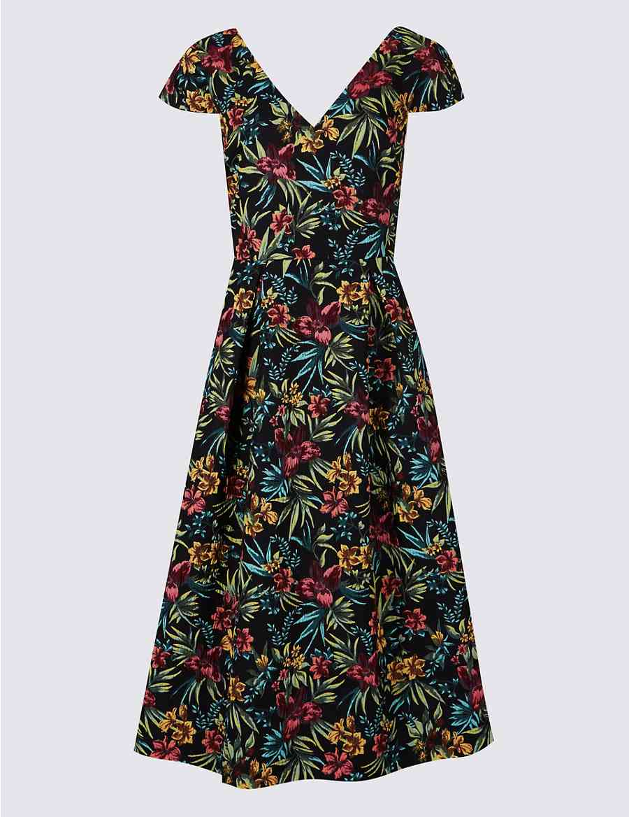 Floral Print Jacquard Prom Dress  c15a89eda