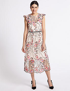 Multi Mesh Embroidered Tea Midi Dress, MULTI, catlanding