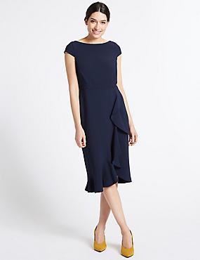 Ruffle Asymmetric Short Sleeve Bodycon Dress