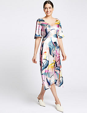 Brushstroke Print Half Sleeve Tunic Dress