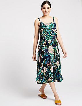 Floral Print Swing Midi Dress