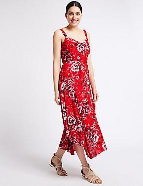 Floral Print Asymmetric Vest Dress