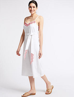 Pure Cotton Embroidered Culotte Jumpsuit