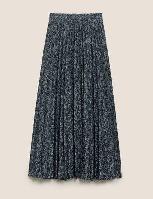 Jersey Polka Dot Pleated Midi A-Line Skirt