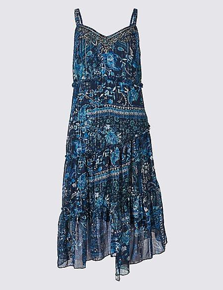 Floral Print Asymmetric Swing Midi Dress