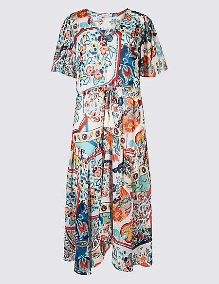 Floral Print Half Sleeve Tea Midi Dress