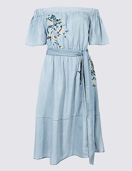 Cotton Rich Embroidered Bardot Midi Dress