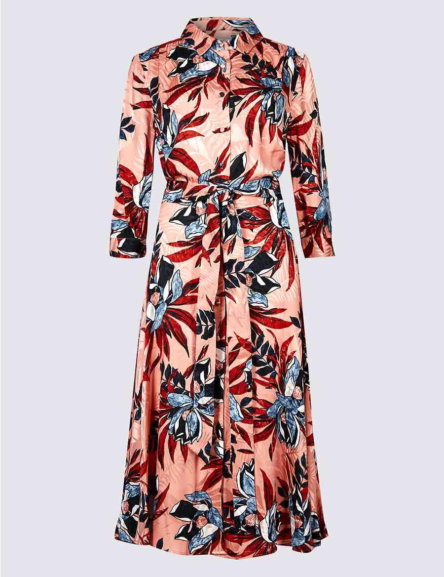 50beed6cae Textured Jacquard 3 4 Sleeve Shirt Dress