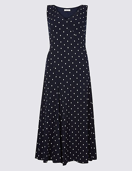 Geometric Print Midi Dress navy mix Marks and Spencer Clearance Perfect Discount New Arrival keGtpFQnk