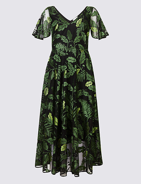 cdbf176d673c1a Product images. Skip Carousel. Embroidered Mesh Short Sleeve Midi Dress