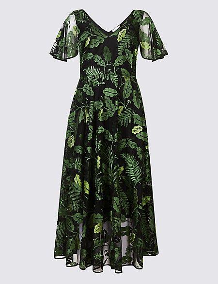 Embroidered Mesh Short Sleeve Midi Dress