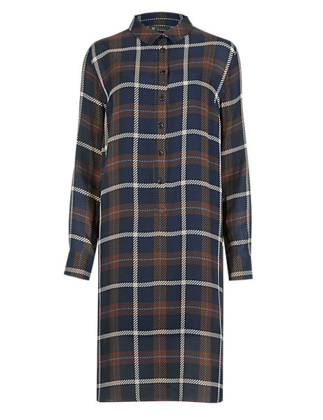 Pure Silk Large Checked Shirt Dress