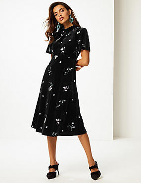 Embroidered Short Sleeve Tea Midi Dress